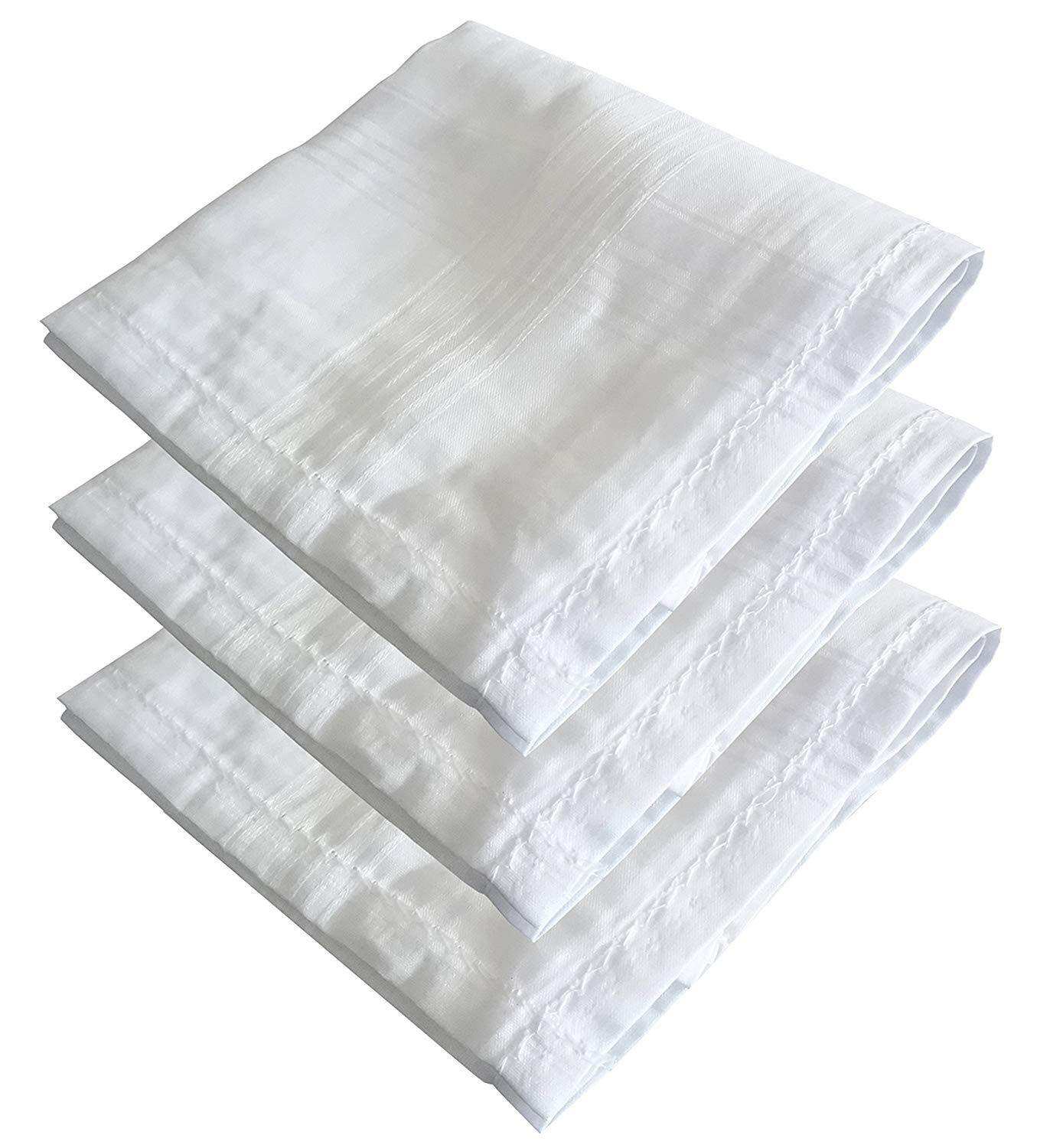 100% Cotton Luxury Collection White Hanky Handkerchiefs Pack of 6