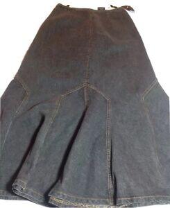 NWT-Anna-Sui-Grey-Denim-Trumpet-Skirt-Size-0-Rare-Piece