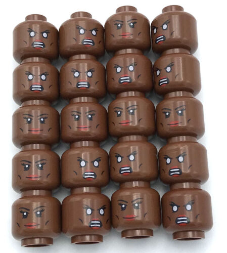 LEGO 20 NEW REDDISH BROWN MINIFIGURE HEAD DUAL SIDED SMILE SCOWL GIRL WHITE EYES