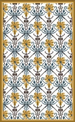 Miniature needlepoint rug kit for dollhouse #159 Carnation blue /& gold