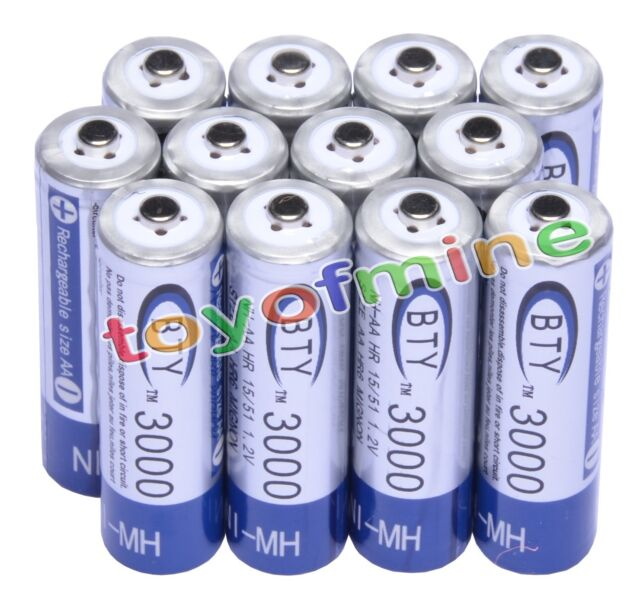 12x AA 3000mAh 2A 1.2 V Ni-MH Rechargeable Battery BTY Cell for MP3 RC Toys