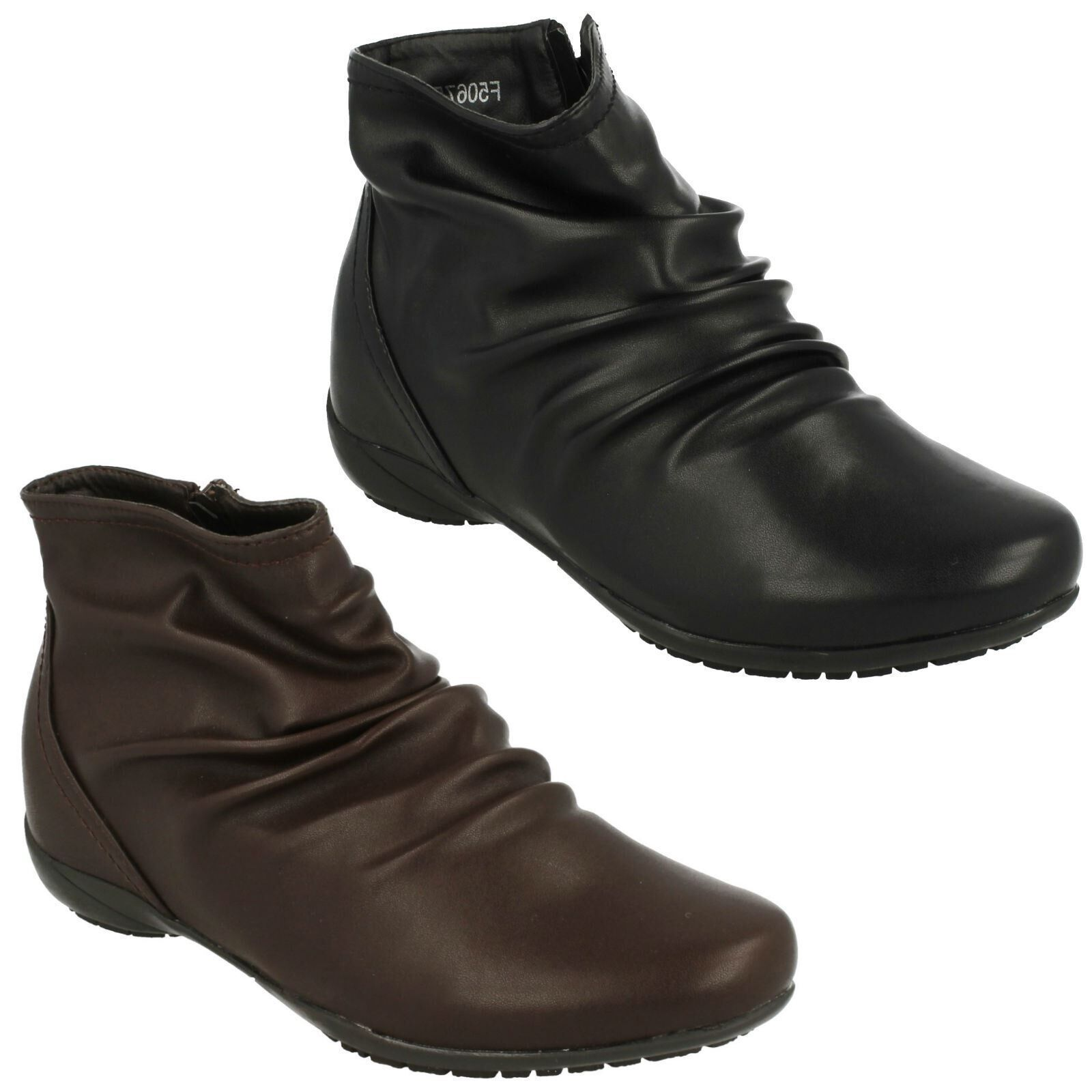 F50675 LADIES DOWN TO EARTH CASUAL WINTER ROUCHED FLAT ANKLE BOOTS ZIP UP SHOES