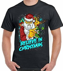Believe In Christmas - Mens Funny T-Shirt Secret Santa Father Xmas