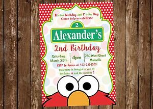 Image Is Loading Elmo Sesame Street Invitation Birthday Party