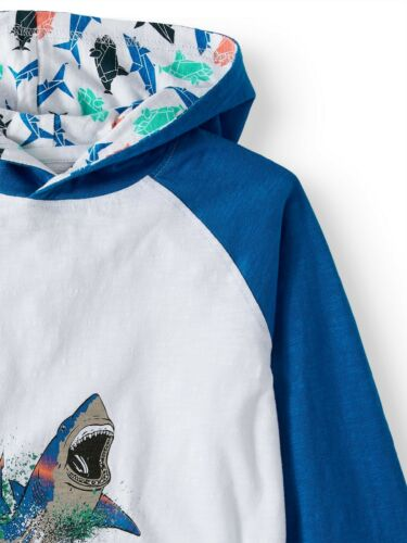 SHARK HOODIE Boys Long sleeve pullover sweater NEW Unused Jaws Sharknado Cute