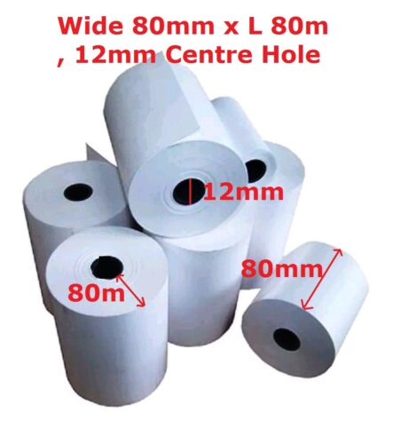 20 x Till Printer ePOS Thermal Roll Wide 80mm x 80m Length 12mm Centre Hole