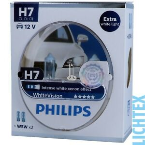 H7-w5w-Philips-whitevision-intenso-Xenon-efecto-duo-Pack-Box