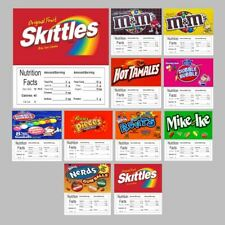 10 Product Vending Machine Candy Nutrition Stickers Labels Free Ship 25