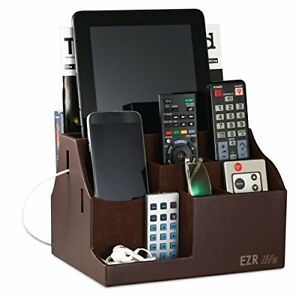 EZR-life-All-in-One-Remote-Control-Holder-Caddy-Organizer-Brown-Leather-a