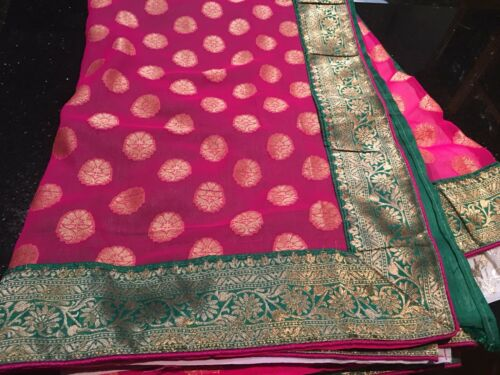 Pink White Bollywood Sari Saree Green Diwali Party Indian A86 Designer Fancy qTYw00