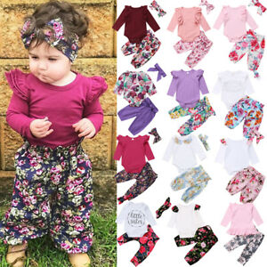 b250902a822c Newest Toddler Kids Baby Girl Floral Romper Tops Pants Home Outfits ...
