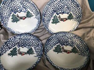Set-Of-4-Folk-Craft-Cabin-in-the-Snow-Tienshan-10-25-034-Dinner-Plates-Spongeware