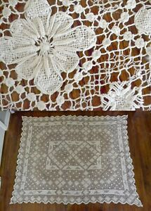ANTIQUE-LINEN-WHITE-CROCHET-LACE-68-X-56-TABLECLOTH-VINTAGE-BEDSPREAD