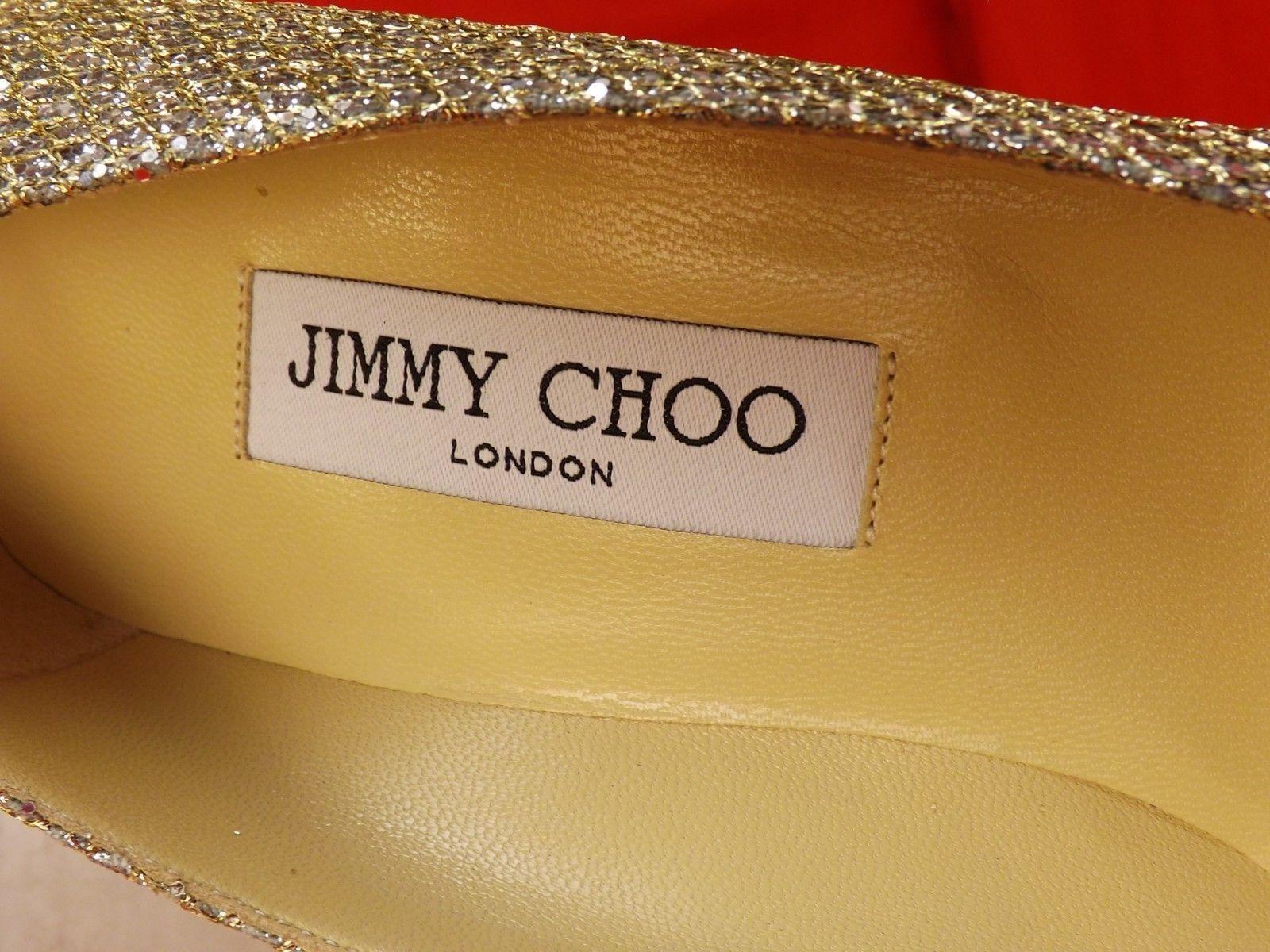 NIB JIMMY CHOO AGNES CHAMPAGNE GLITTER FABRIC POINTY TOE MIRROR MIRROR MIRROR HEEL PUMPS 41 c8ff52