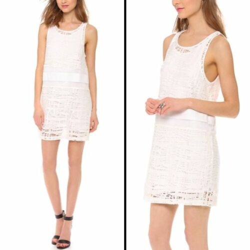 *NEW* Addison $208 Millers White Crochet Lace Dress Small NWT Perforated Panel