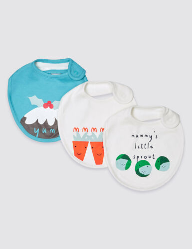 Absorbent Towellng Backs-Cotton Mix M/&S Christmas Baby Bibs x 3 Brand New