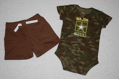 Baby Boys GREEN CAMO T-SHIRT Bodysuit MAJOR CUTIE Athletic Joggers Pants 0-3 MO