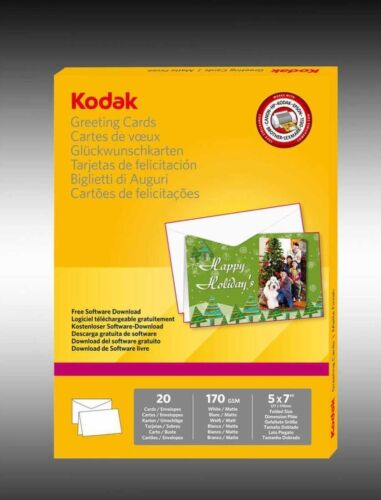 "20 Kodak Greeting Cards, Matte Finish, 170 GSM, 5x7"". Make your own cards!"