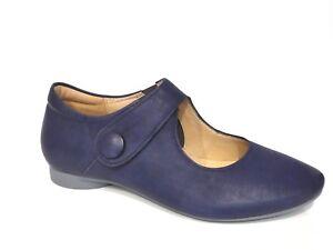 Details zu Think! Schuhe Slipper Ballerina Guad blau capri Leder bequem Einlagen
