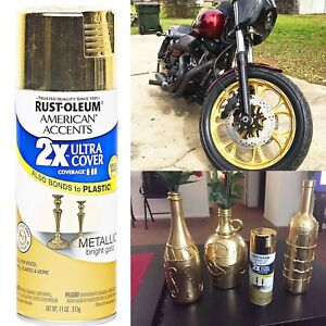 Details About Metallic Gold Spray Paint Primer Ultra Cover American Accents Rust Oleum 327909