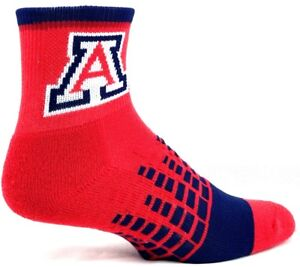 Arizona Wildcats NCAA Red Thin Long Crew Socks with Navy Heel Toe and Cuff