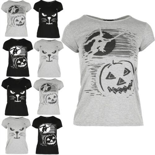 Kids Halloween Effrayant Chat Baggy Surdimensionné T Shirt filles Sorcière /& Pumpkin Print Top