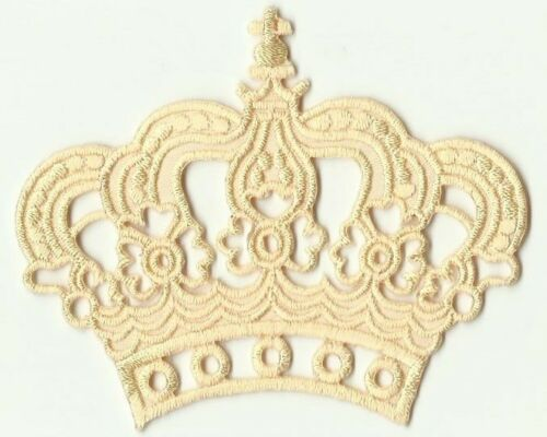 ECUSSON PATCHE PATCH THERMOCOLLANT COURONNE REINE ROI BEIGE FONCE CROWN DI 8X6CM