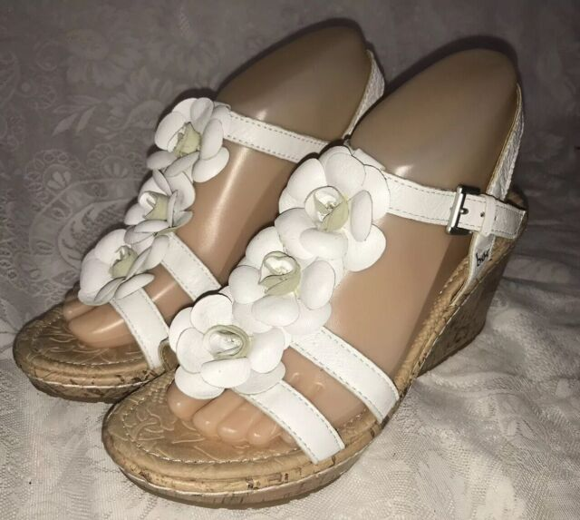 Concept Flower M Wedge Born Size Boc Heel Cork 8 White Women's Sandals Leather BWxQrdoeC