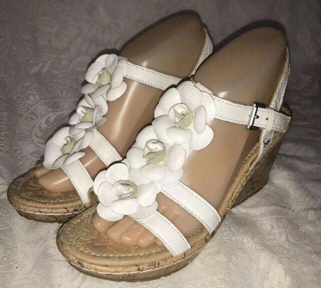 8 Cork Heel Concept M Boc Born Sandals Wedge White Size Women's Flower Leather FcKTJl1