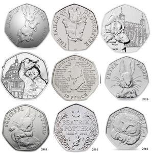 Paddington Sherlock Beatrix Potter 50p Coins Benjamin Bunny Fifty Pence