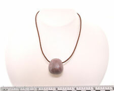 Rhodonite Artisan Pendant Necklace SS Hook Clasp A012-9 Leather Cord Love