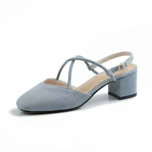 Details about  /Women/'s Closed Square Toe Slip On Slingbacks Mid Heel Summer Sandals Court Party
