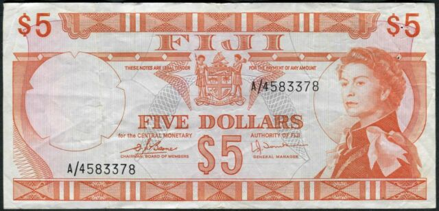 Fiji 5 Dollars ND(1974) P73c (3378)