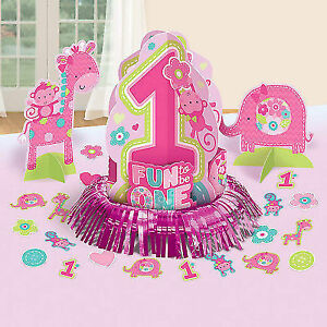 Amscan One Wild Girl 1st Birthday Table Decorating Kit Medium Pink