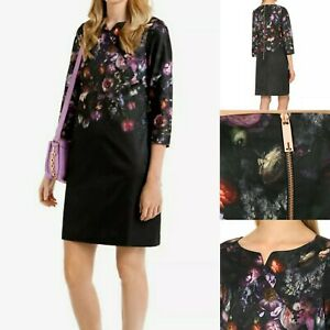 TED-BAKER-Atieno-Black-Satin-Tunic-Floral-Dress-Size-0-UK-6-Cocktail-3-4-Sleeve