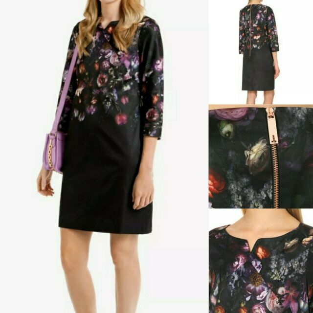TED BAKER Atieno Black Satin Tunic Floral Dress Size 0 UK 6 Cocktail 3/4 Sleeve