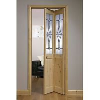 Modern Internal Pine Wooden Glazed Bifold Door Room Decor Glass Home Interior