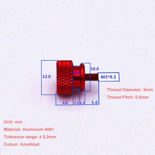 M3*5mm Aluminum Alloy Knurled Thumb Screw PC Case Hand Twist Bolt Head Dia.=12