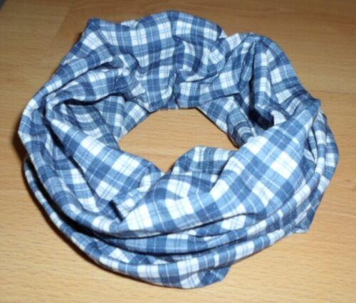Damen Kinder Schlauchschal Loop Schal Multifunktionstuch Blau Weiß kariert