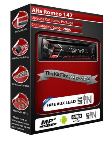 pionero Radio Reproductor de CD con entrada AUX frontal USB Alfa Romeo 147 auto estéreo
