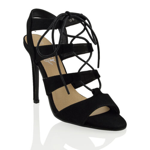 Tie caviglia cinturino Lace Heel Up Ladies Strappy Stiletto alla Sandals Womens PSOFxwYqP