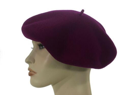 Laulhere L/'authentique 100/% Wool Beret Hat Violet Purple 6 3//8-6 5//8 Made France