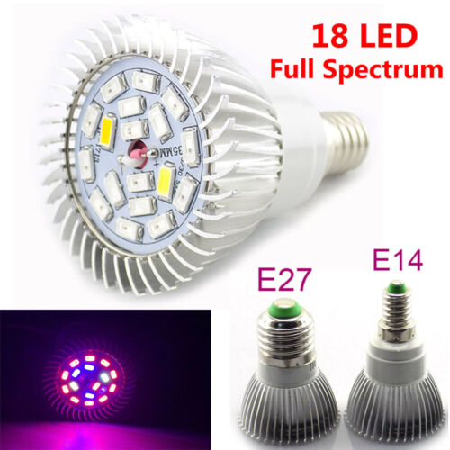 18W LED Plant Grow Light Bulbs Full Spectrum E27 Lamp Indoor Hydroponic Flower