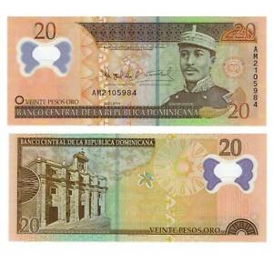 Papiergeld Welt / 2814596## By Scientific Process Generous Dominikanische Republik 20 Pesos Oro 2009 Pick 182 Unc