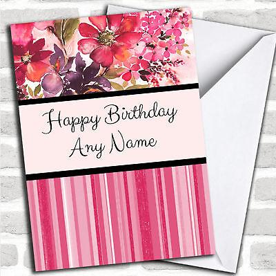 & A Righe Rosa Caldo Fiorato Acquerello Carta Compleanno Personalizzati-mostra Il Titolo Originale