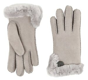UGG-Gloves-Bailey-Button-Side-Vent-Sheep-Shearling-Seal-Grey-Large