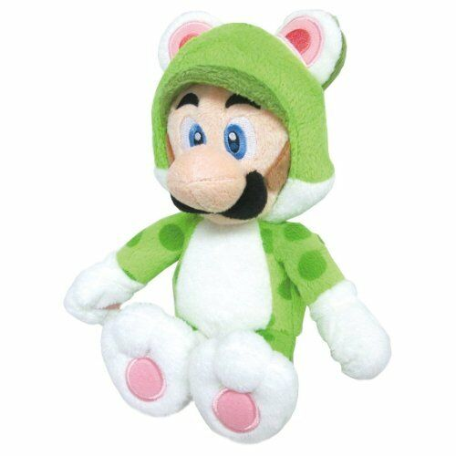 "Sanei Super Mario 3D World Neko Cat Luigi 9/"" Plush Doll"
