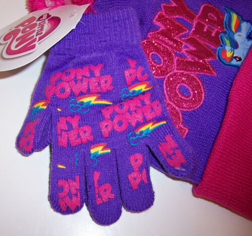 MY LITTLE PONY Pony Power Purple//Pink Glitter KNIT HAT Pom-Pom BEANIE GLOVES SET