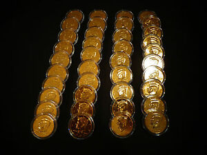 LOT-OF-20-24-KT-GOLD-PLATED-J-F-KENNEDY-50-CENT-20-COIN-SET-EACH-IN-HOLDER