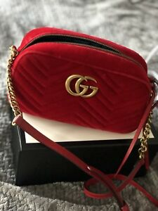 b8a66a386718eb Image is loading GUCCI-GG-MARMONT-VELVET-Small-Shoulder-Bag